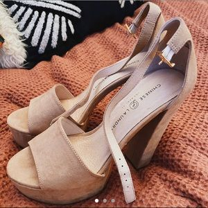 Chinese Laundry Nude Suede Platform Heels